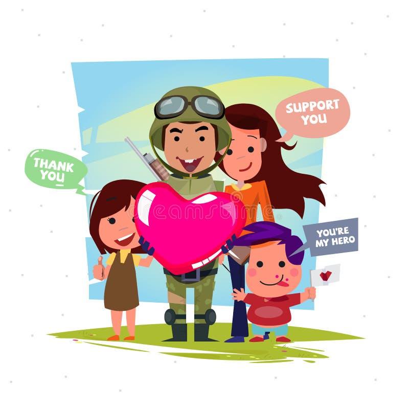 Militair die een groot hart van liefde met familie houden stock illustratie