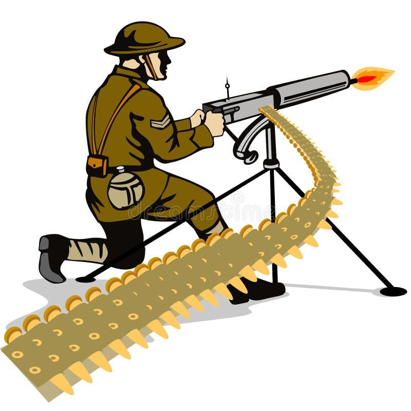 Militair die een machinegeweer in brand steekt royalty-vrije illustratie