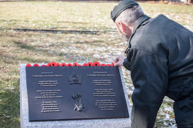 Militair die herinneringspapaver op de plaque voorleggen aan Nathan Cirillo, slachtoffer van de terrorist van 2014 het ontspruite royalty-vrije stock afbeelding