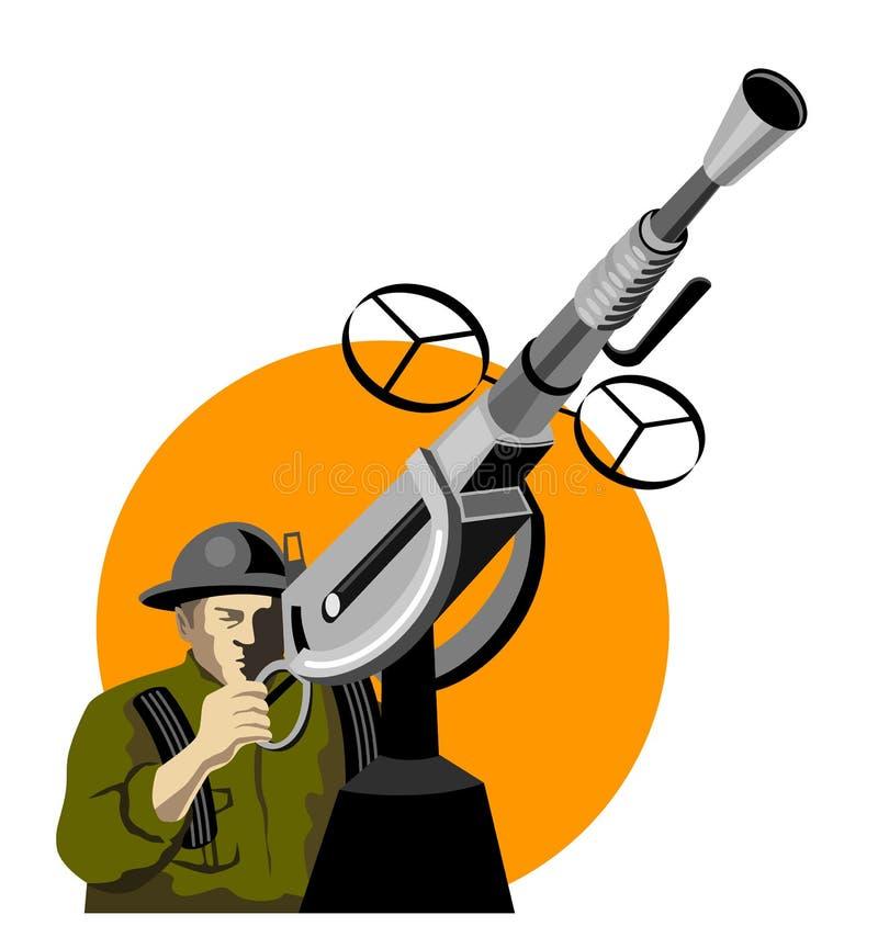 Militair die luchtafweerg in brand steekt royalty-vrije illustratie