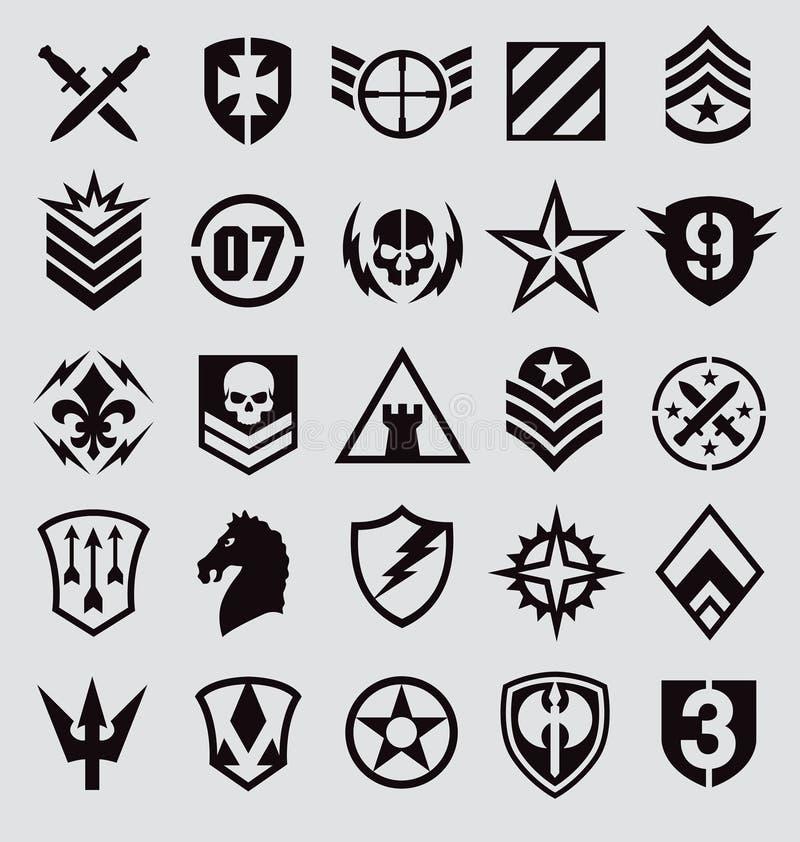 Militair die symbolenpictogram op grijs wordt geplaatst royalty-vrije illustratie