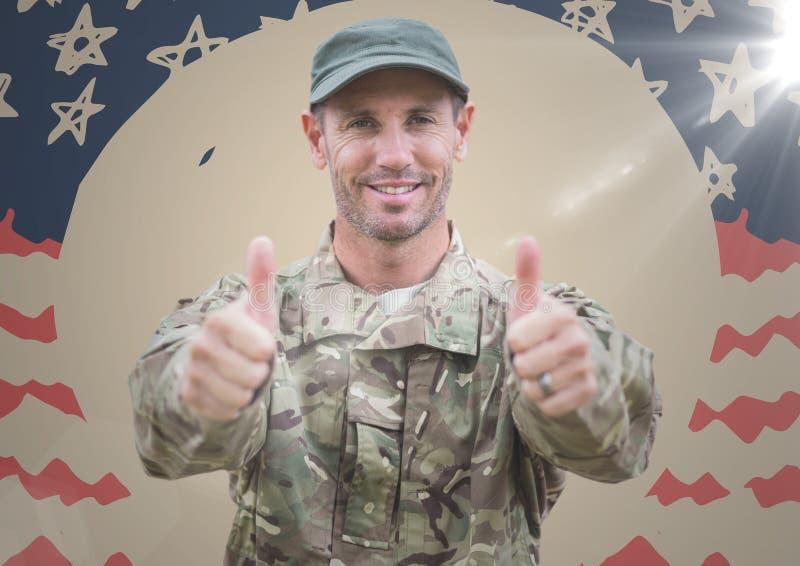 Militair die twee duimen opgeven tegen hand getrokken Amerikaanse vlag met gloed royalty-vrije stock afbeeldingen