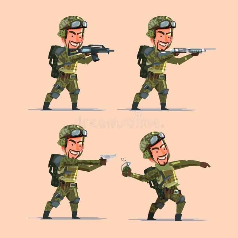 Militair diverse kanonnen houden en bom die voorbereidingen treffen te schieten Soldie royalty-vrije illustratie