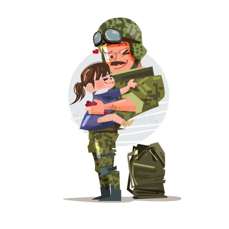 Militair in eenvormig met zijn dochter wordt herenigd die Karakterontwerp royalty-vrije illustratie