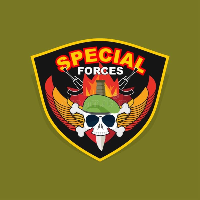 Militair Embleem met een schedel en het wapen, Vleugels op schild WA stock illustratie
