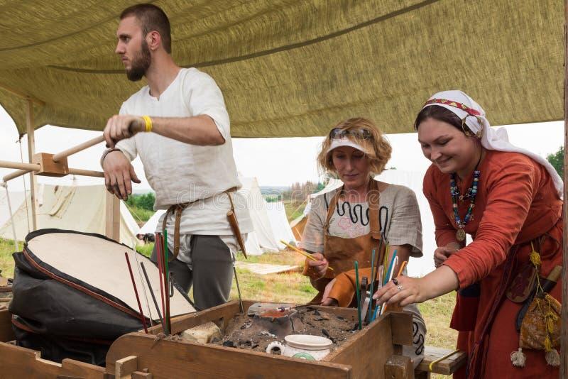 Militair en historisch festival wederopbouw royalty-vrije stock afbeeldingen