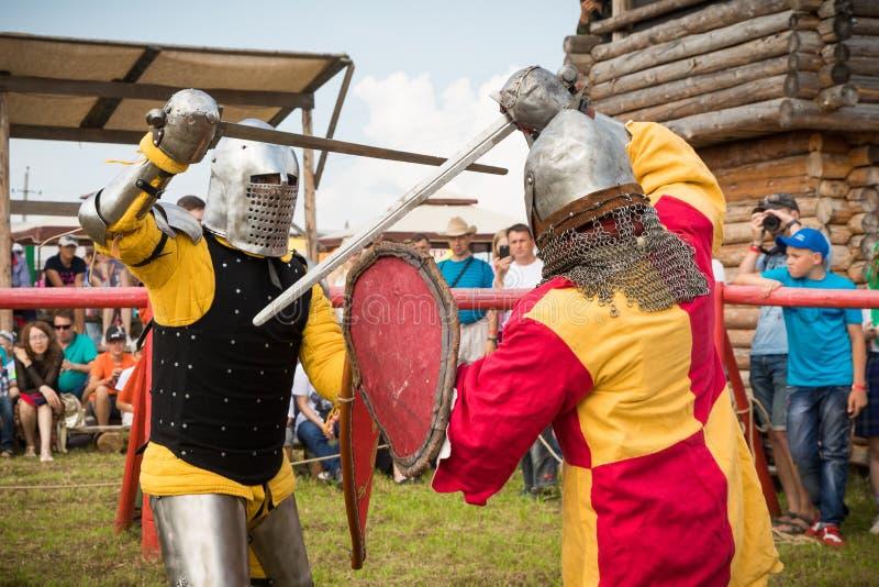 Militair en historisch festival wederopbouw Ridder royalty-vrije stock afbeeldingen