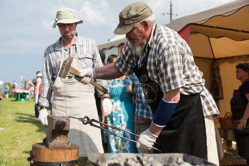 Militair en historisch festival wederopbouw Ridder stock fotografie