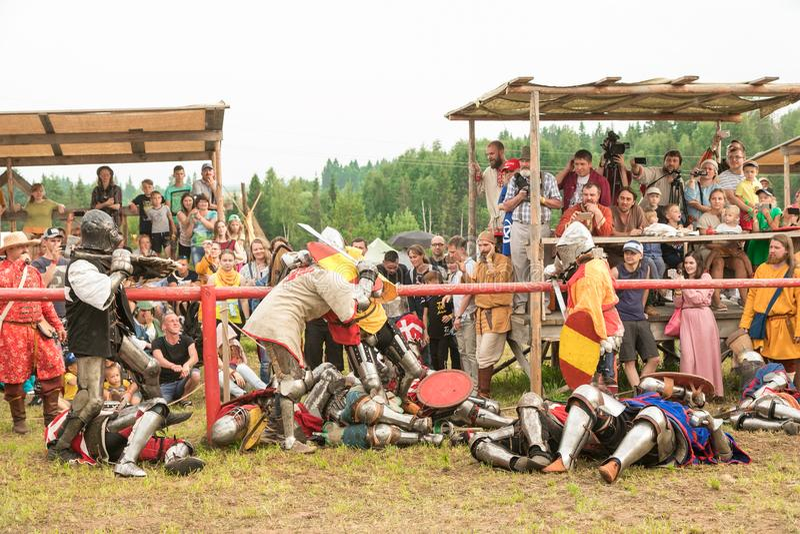 Militair en historisch festival wederopbouw Ridder stock foto