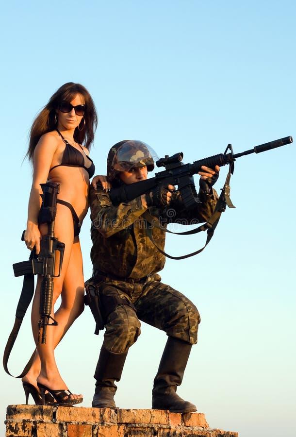 Militair en vrouw royalty-vrije stock foto's