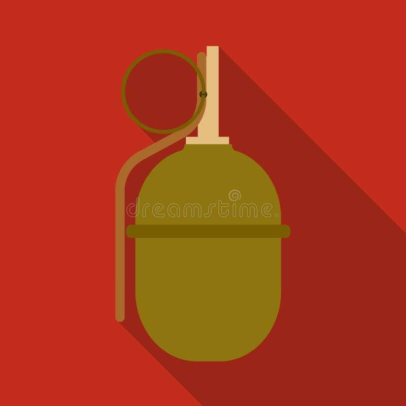 Militair granaatpictogram in vlakke die stijl op witte achtergrond wordt geïsoleerd De voorraad vectorillustratie van het militai vector illustratie