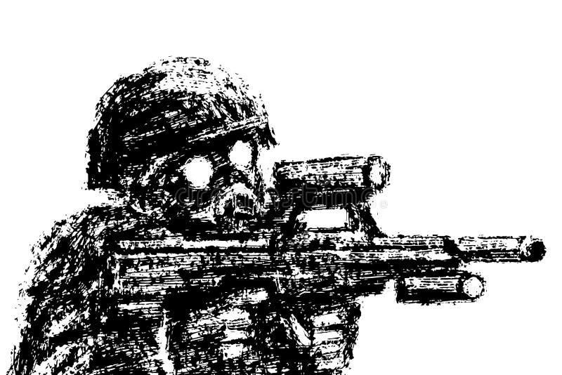 Militair in helm en gasmasker die van aanvalsgeweer streven Vector illustratie stock illustratie