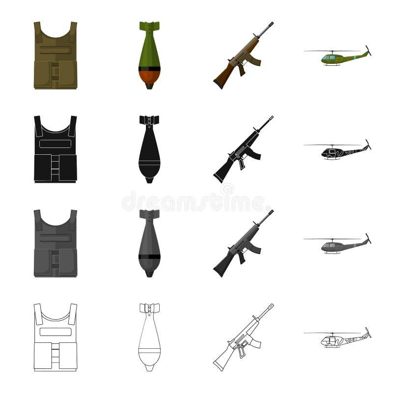 Militair kogelvrij vest, mijn, machinegeweer, gevechtshelikopter De militaire en pictogrammen van de leger vastgestelde inzamelin vector illustratie