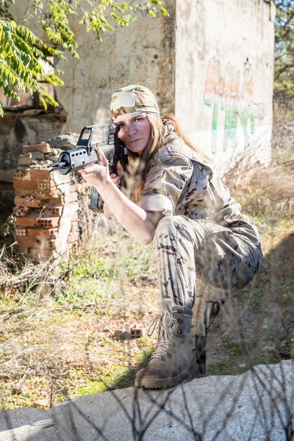 Militair Meisje royalty-vrije stock foto's