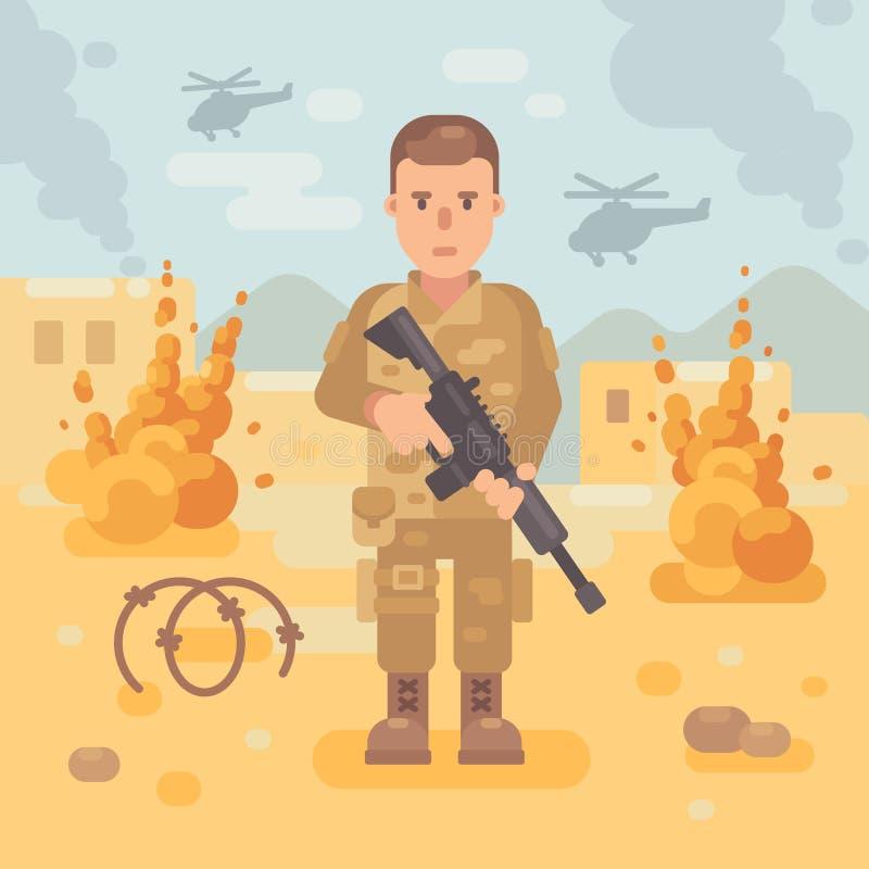 Militair met een geweer op de slagveld vlakke illustratie stock illustratie