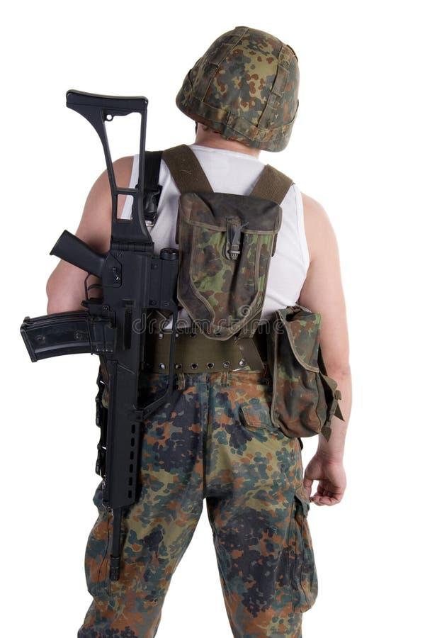Militair met een kanon royalty-vrije stock afbeeldingen