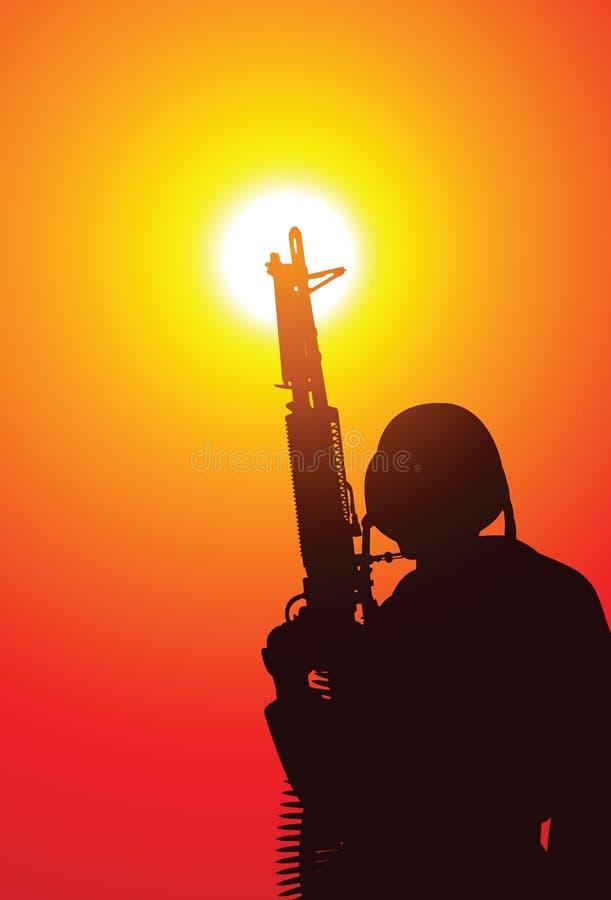 Militair met een machinegeweer vector illustratie