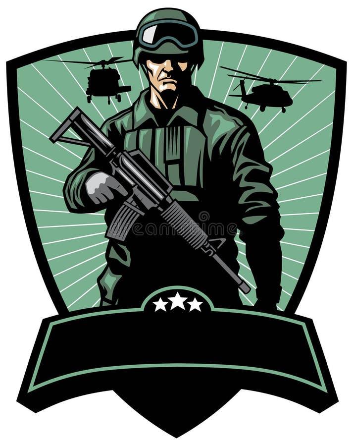 Militair met geweer stock illustratie