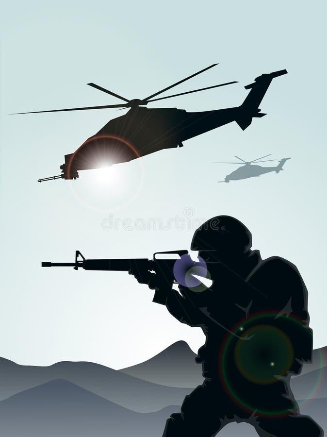 Militair met helikopters vector illustratie