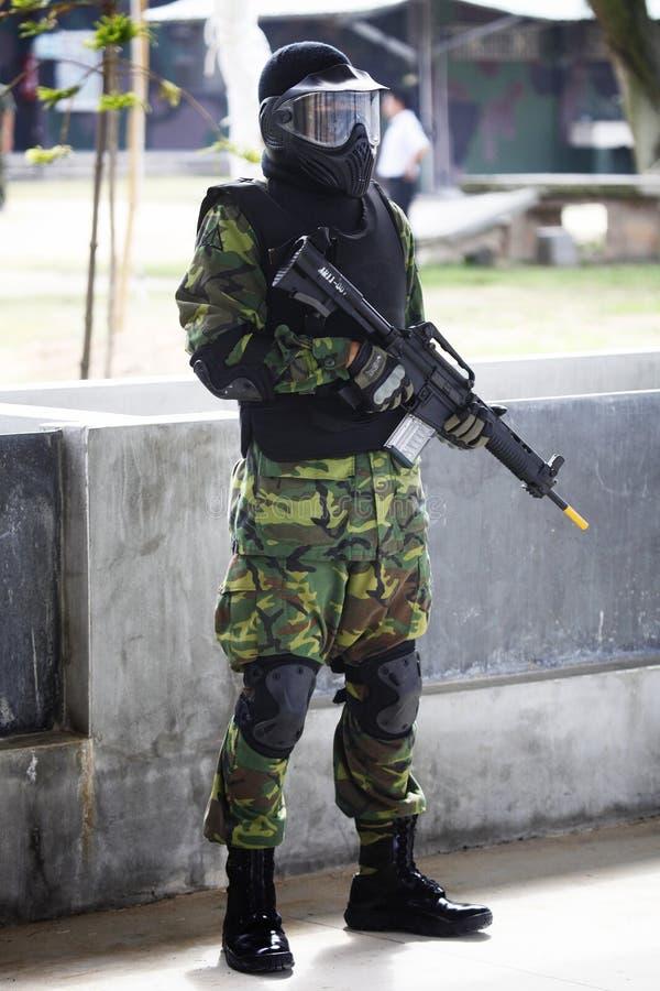Militair met kaki royalty-vrije stock foto's