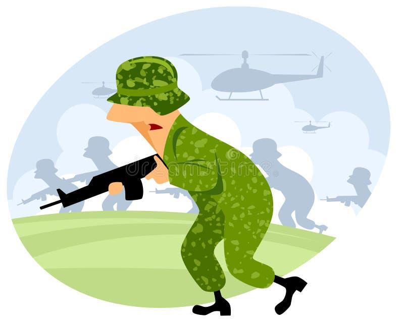 Militair met machinegeweer vector illustratie
