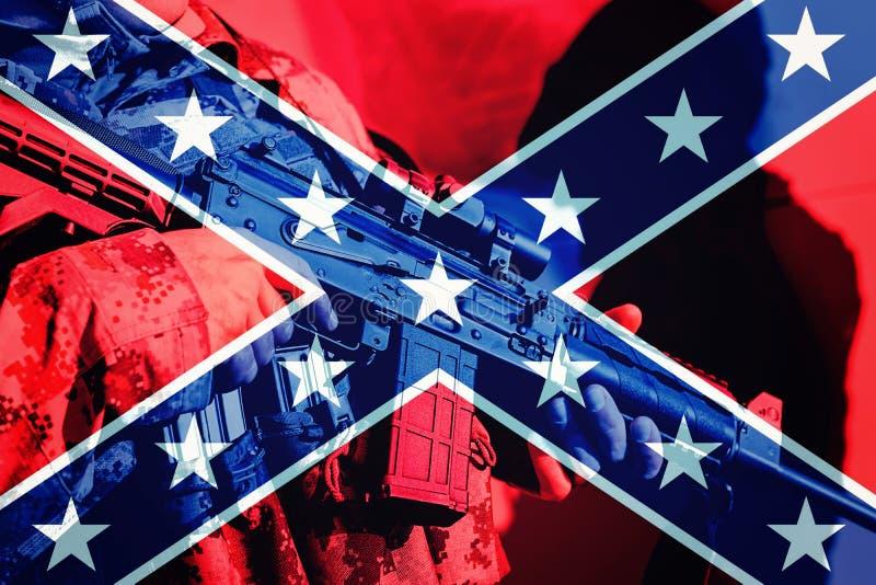 Militair met machinegeweer met vlag van Lidstaat royalty-vrije stock foto's