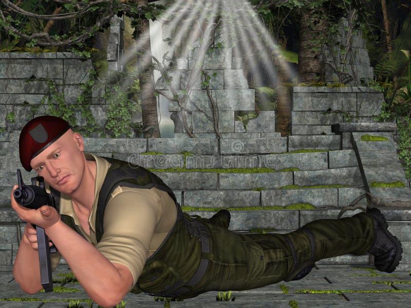 Militair Met Wapen Stock Afbeeldingen