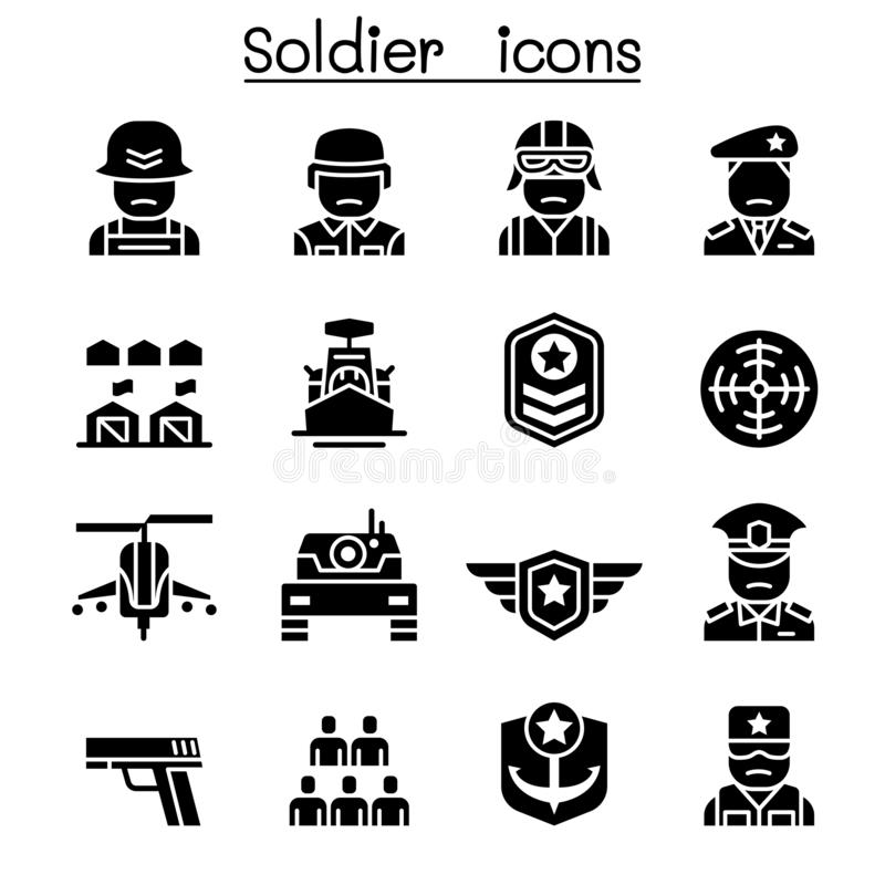 Militair & Militaire pictogramreeks stock illustratie