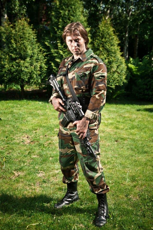 Militair op het gebied royalty-vrije stock foto