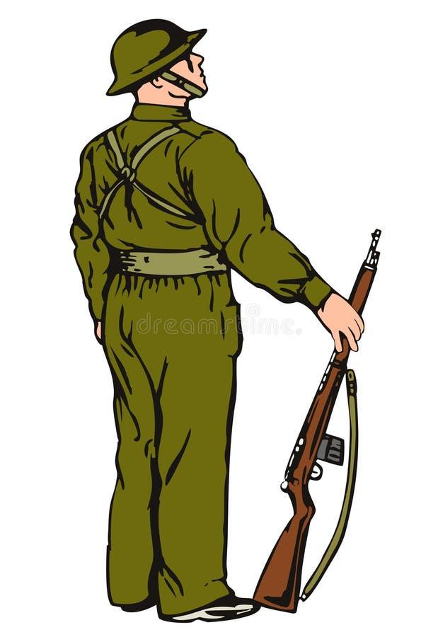 Militair op wacht stock illustratie