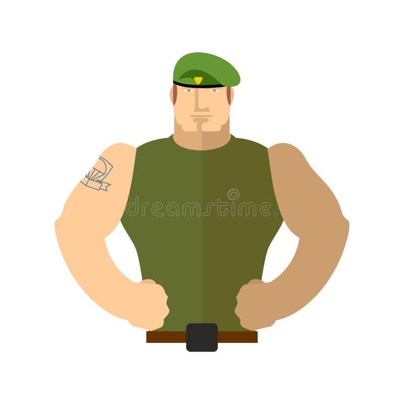 Militair Portrait Militair in groene baret Speciale Krachten royalty-vrije illustratie