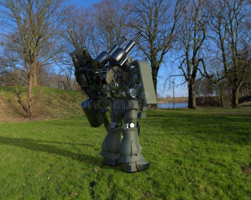 Militair sc.i-FI die me-CH zich op een landschapsachtergrond bevinden Militaire futuristische robot met een groen en grijs kleure stock illustratie