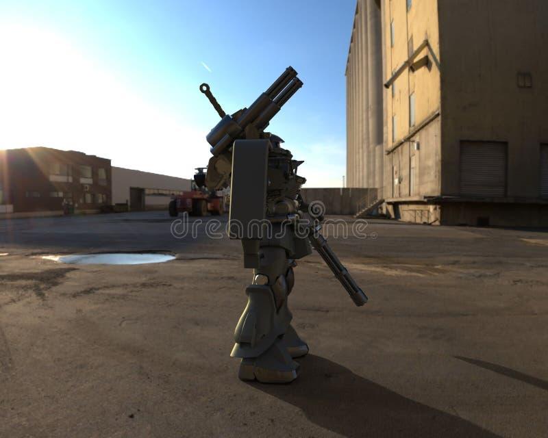 Militair sc.i-FI die me-CH zich op een landschapsachtergrond bevinden Militaire futuristische robot met een groen en grijs kleure vector illustratie