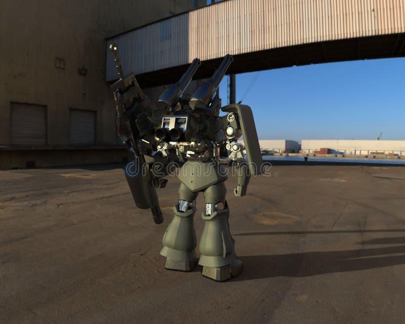 Militair sc.i-FI die me-CH zich op een landschapsachtergrond bevinden Militaire futuristische robot met een groen en grijs kleure royalty-vrije illustratie