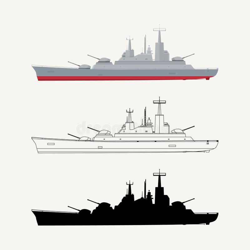 Militair schip stock illustratie