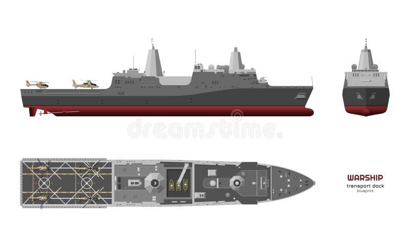 Militair schip Hoogste, voor en zijaanzicht Slagschip 3d model Industriële geïsoleerde tekening van USS-boot oorlogsschip royalty-vrije illustratie