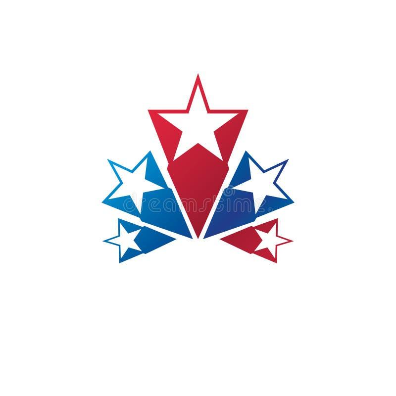 Militair Sterembleem Heraldisch vectorontwerpelement, 5 sterren gu vector illustratie
