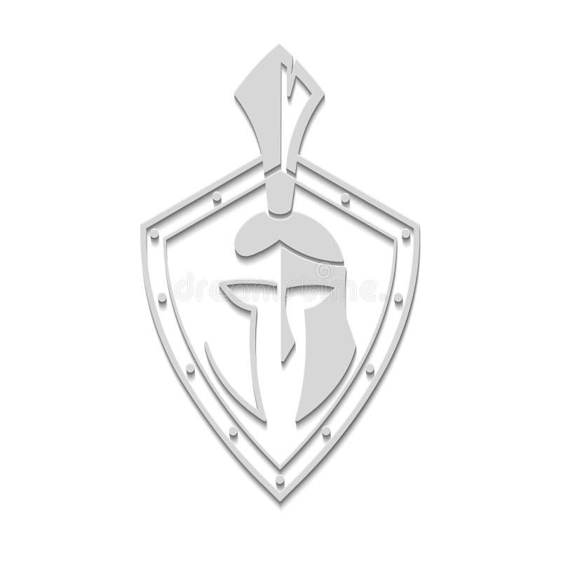 Militair symbool op schild vectorpictogram stock illustratie