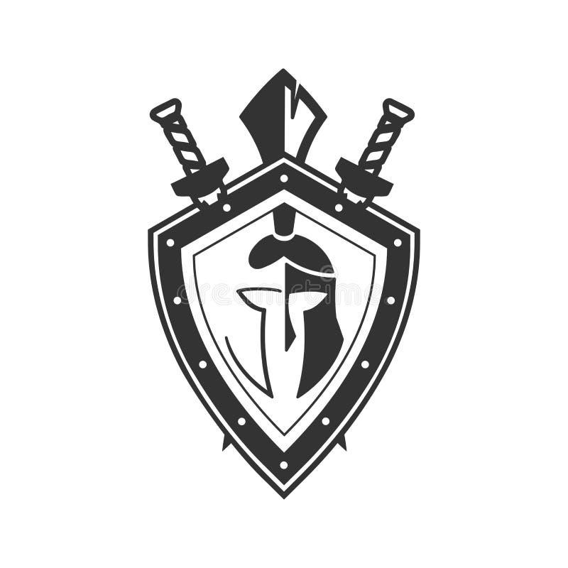 Militair symbool op schild vectorpictogram royalty-vrije illustratie