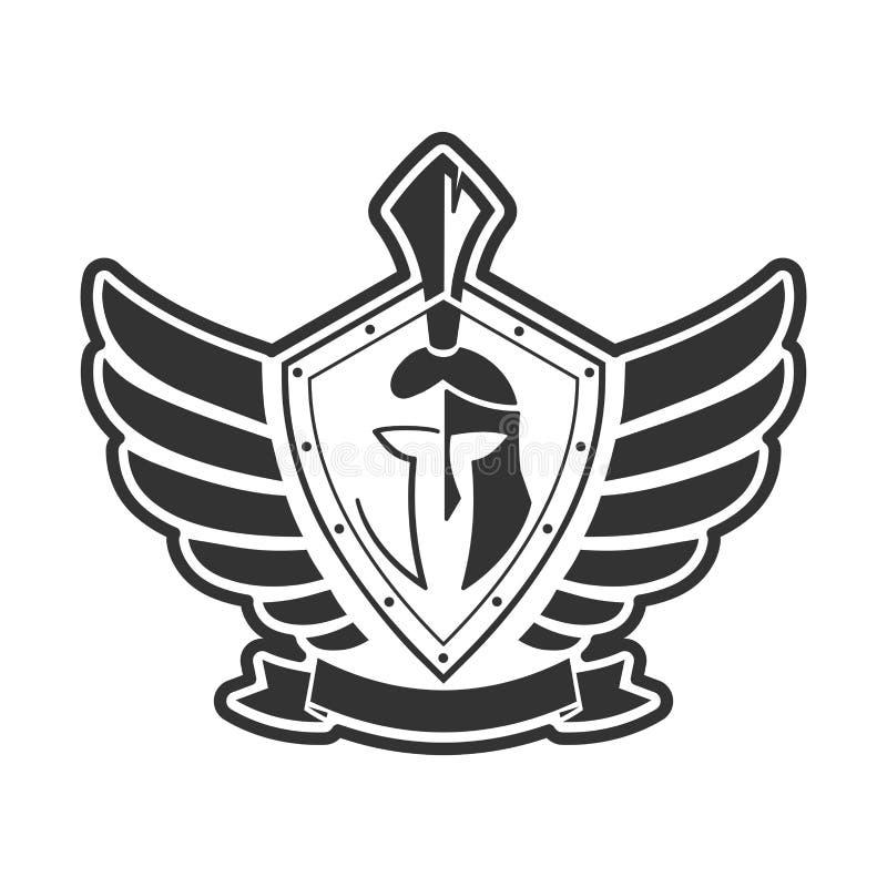 Militair symbool op schildpictogram stock illustratie