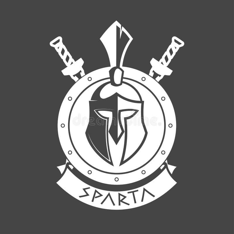 Militair symbool, Spartaanse helm in lauwerkrans royalty-vrije illustratie
