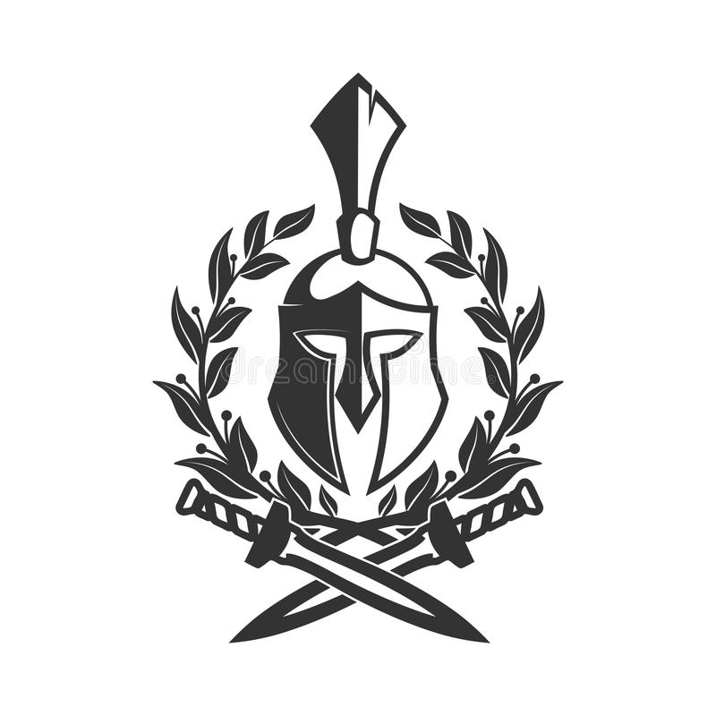 Militair symbool, Spartaanse helm in lauwerkrans stock illustratie