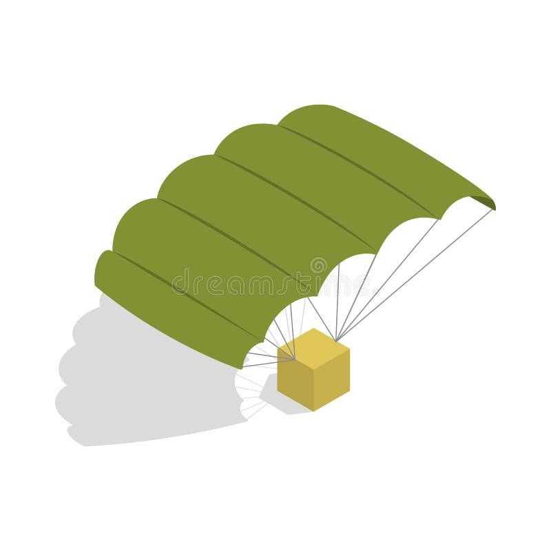 Militair valschermpictogram, isometrische 3d stijl stock illustratie