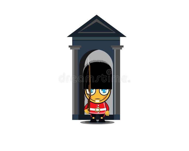 Militair van de koninklijke wacht Beschermer van Buckingham Palace Vector illustratie stock illustratie
