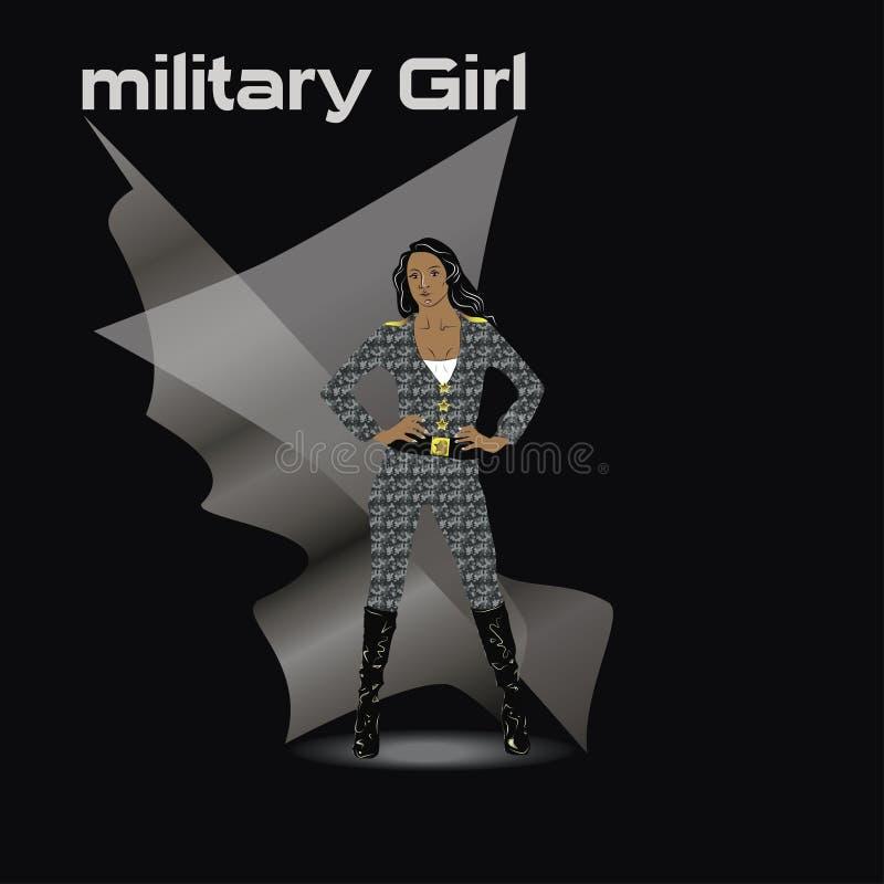 Militair wijfje met haar gekruiste wapens stock foto