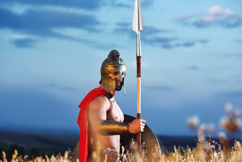 Militair zoals Spartaanse of antieke Romein stock fotografie