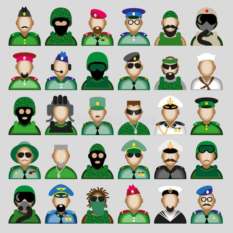 Militaire avatars royalty-vrije illustratie