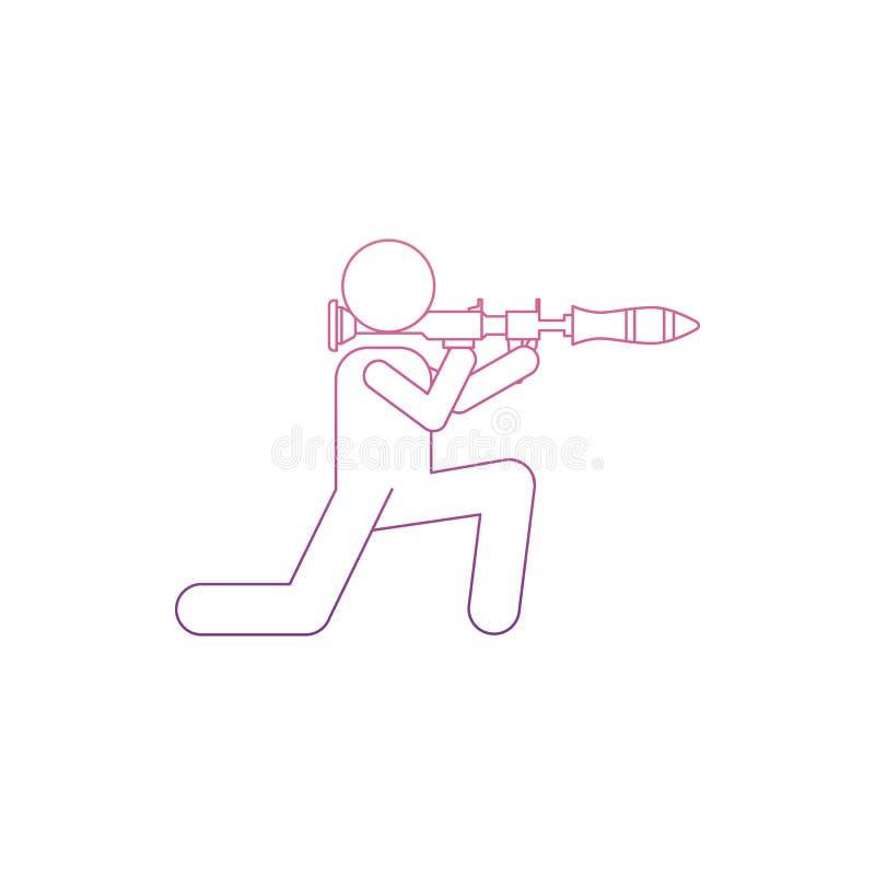 militaire avec une icône de lance-grenades en style de Nolan Un de l'icône de collection d'armée peut être employé pour UI/UX illustration de vecteur