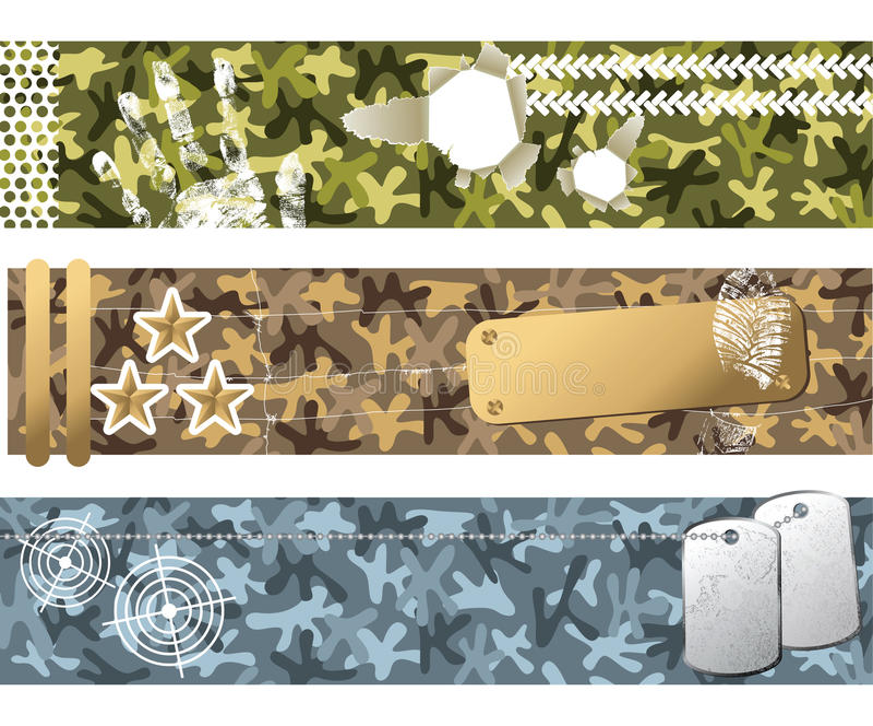 Militaire banners stock illustratie