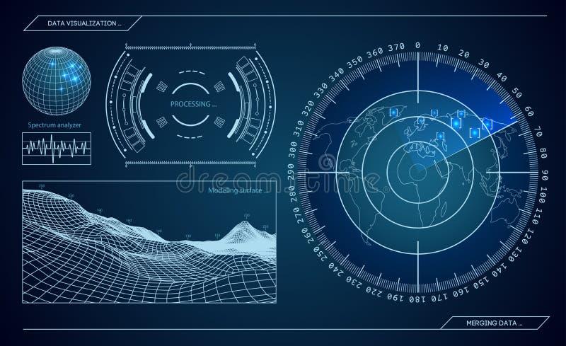 Militaire blauwe radar Het scherm met doel Futuristisch Hud Interface De VectorIllustratie van de voorraad vector illustratie